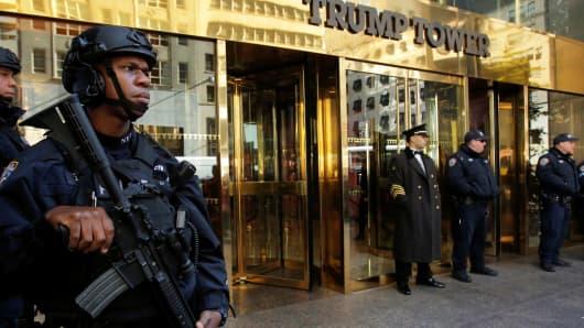 Members of the New York Police Department's Counterterrorism Bureau stand watch outside U.S. Republican presidential nominee Donald Trump's Trump Tower ahead of the U.S. presidential election in Manhattan, New York, U.S., November 7, 2016.