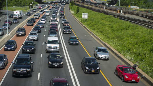 Rush hour traffic is backed up along Interstate 66 in this view from the Vienna Metro Station in Virginia.