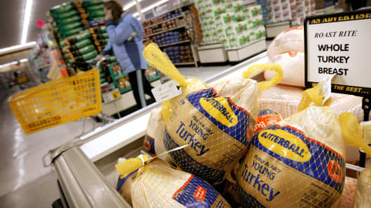 Butterball turkeys are for sale at a grocery store in Omaha, Nebraska.