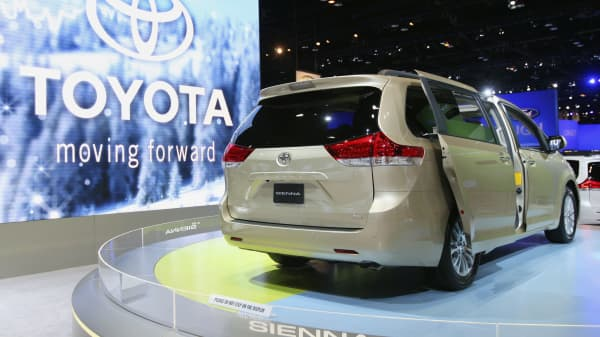 Toyota Motor Corp.'s Sienna sits on display at the 2010 Chicago Auto Show in Chicago, Illinois.