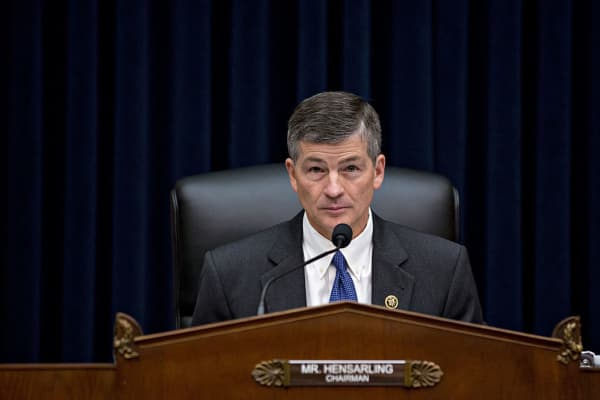 Representative Jeb Hensarling, a Republican from Texas and chairman of the House Financial Services Committee, waits to begin a hearing with John Stumpf, chief executive officer of Wells Fargo & Co., not pictured, in Washington, D.C., U.S., on Thursday, Sept. 29, 2016.