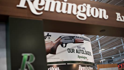 The Remington Arms booth stands on the exhibition floor of the 144th National Rifle Association (NRA) Annual Meetings and Exhibits at the Music City Center in Nashville, Tennessee, U.S., on Saturday, April 11, 2015.