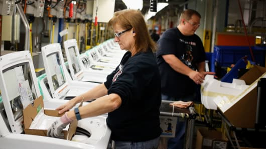 Workers assemble washing machines at the Whirlpool manufacturing facility in Clyde, Ohio.