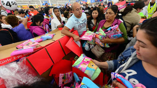 People get an early start on Black Friday shopping deals at a Walmart Superstore on November 22, 2012 in Rosemead, California.