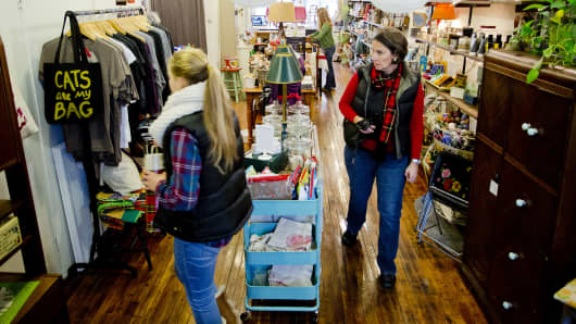 Sarah Wentworth and her mother Debbie, of Falmouth, look through Circa Home & Vintage on Congress Street as they shop on small business Saturday November 28, 2015.