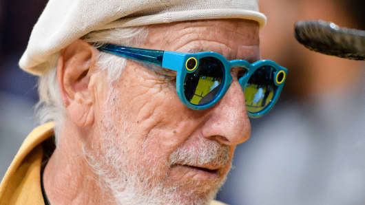 Lou Adler, wearing Snapchat's Spectacles, attends a basketball game at Staples Center on November 15, 2016 in Los Angeles.