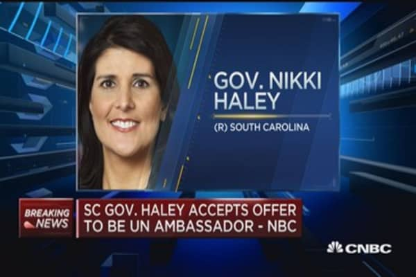 SC Gov. Haley accepts UN ambassador offer: NBC