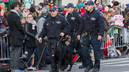 The NYPD and New York City task force were on high alert at the 89th Macys Thanksgiving Day Parade in New York City.