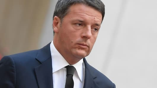 Italian Prime Minister Matteo Renzi is pictured on November 23, 2016 at the Palazzo Chigi in Rome.