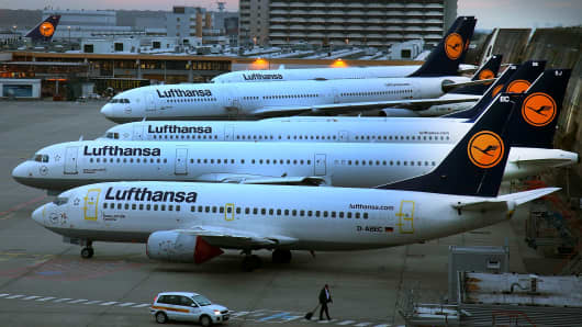 Lufthansa airplanes at waiting position on the first of a two-day strike at Frankfurt Airport on November 23, 2016 in Frankfurt, Germany.