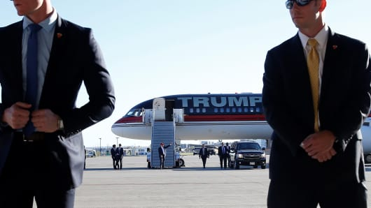 Donald Trump arrives at a campaign rally in Minneapolis, Minnesota, November 6, 2016.