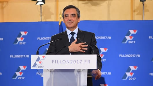 Francois Fillon gives a speech after he is chosen as the center-right's candidate for president in 2017.