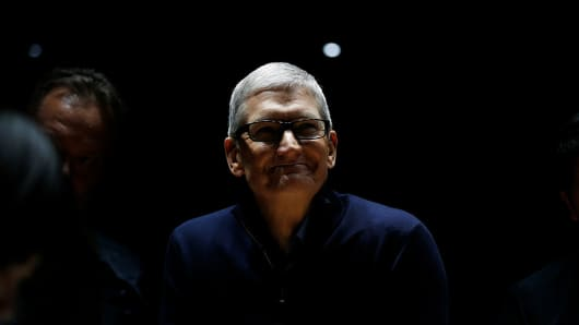 Apple CEO Tim Cook smiles during a product launch event on Oct. 27, 2016, in Cupertino, Calif.