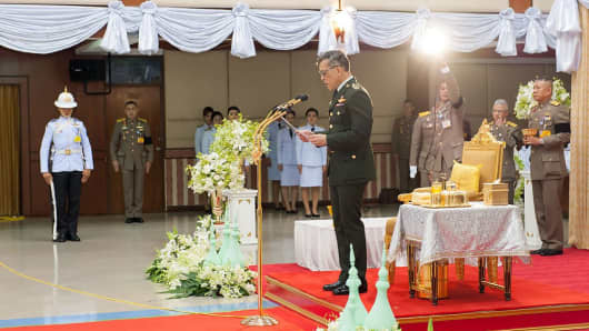 Thailand's Crown Prince, Maha Vajiralongkorn, making a speech at a cultural event with local religious leaders in the southern Thai province of Pattani. He is widely expected to ascend the throne, following the death of the much loved king Bhumibol Adulyadej.