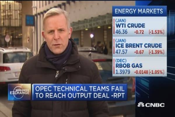 OPEC technical teams fail to reach output deal -Report
