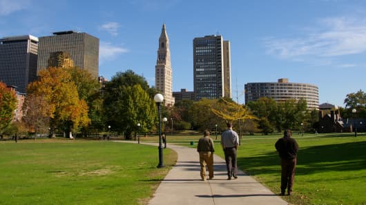 Downtown Hartford, Connecticut.