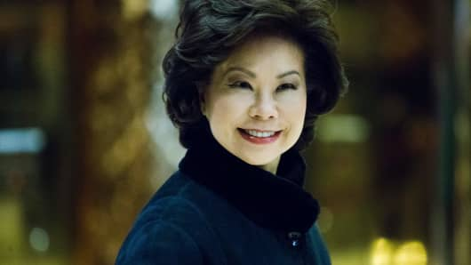 Former US Secretary of Labor Elaine Chao arrives at Trump Tower to meet with President-elect Donald Trump on November 21, 2016 in New York.