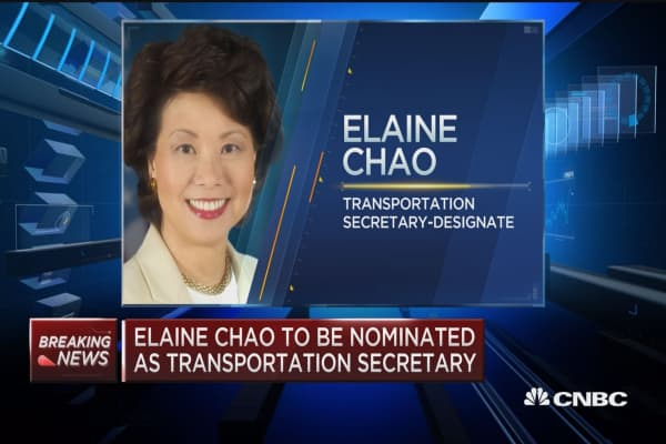 Elaine Chao to be nominated as Transportation Secretary