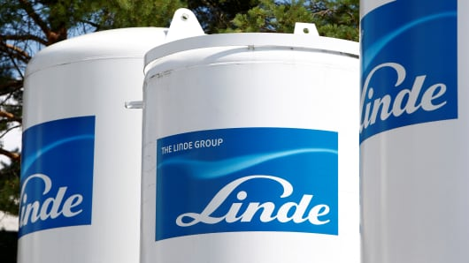 Linde Group logo is seen at a company building in Munich-Pullach, Germany.