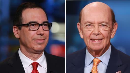 Donald Trump's nominees for Treasury secretary, Steve Mnuchin (l), and for Commerce secretary, Wilbur Ross (r).