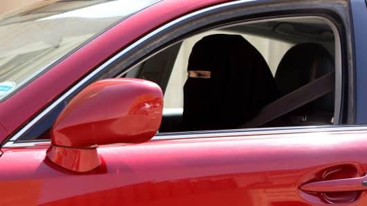 A woman drives a car in Saudi Arabia, October 22, 2013.