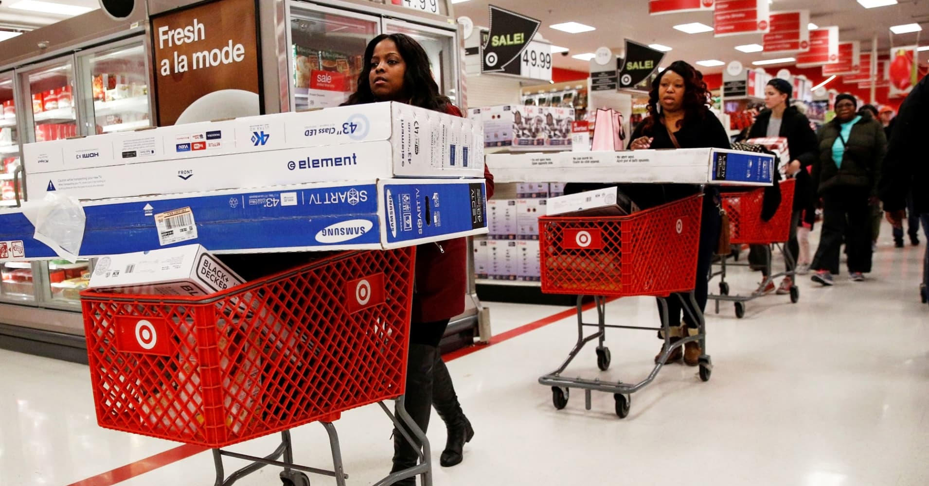 Shoppers take advantage of Black Friday sales at a Target store in Brooklyn, November 25, 2016.