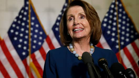 U.S. House of Representatives Democratic Leader Nancy Pelosi speaks to reporters after she was re-elected to her post on Wednesday, despite a challenge from Rust Belt congressman Tim Ryan who said the party needed new leadership, on Capitol Hill in Washington, November 30, 2016.