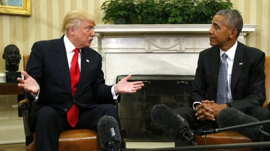 President Barack Obama meets with President-elect Donald Trump to discuss transition plans in the White House Oval Office in Washington, U.S., November 10, 2016.