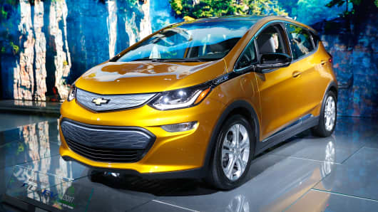 The Chevrolet Bolt EV is displayed during the Los Angeles Auto Show at the Los Angeles Convention Center on November 20, 2016 in Los Angeles, California.