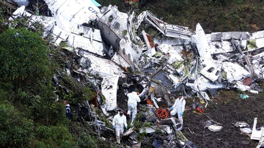 The airplane crash in Antioquia where a chartered plane carrying players of the Brazilian team 'Chapecoense' crashed, on November 29, 2016 in La Union, Colombia.