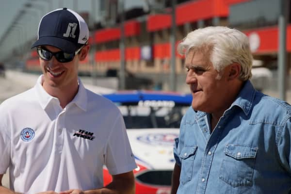 NASCAR superstar Joey Logano and Jay Leno chat before having a friendly race down the track.