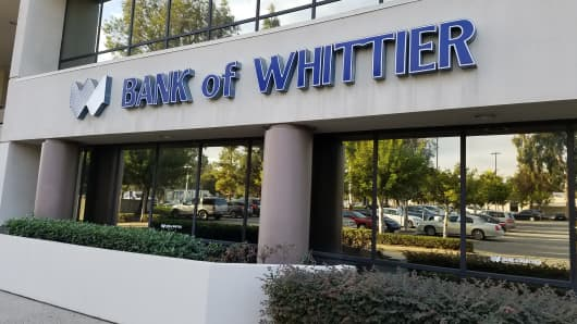 Whittier Bank located in a suburb of Los Angeles