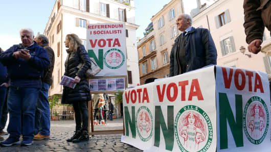 Italian NO voters stumping for support in a public square in Rome.