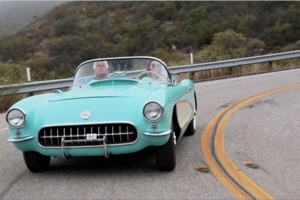 Jay Leno and Kendall Jenner cruise down the open road in her '56 Corvette.