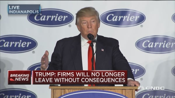 Trump: Won't be reasons for firms to leave US