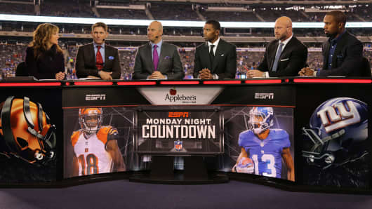 The On-Air hosts of ESPN deliver their Monday Night Countdown broadcast before the game between the Cincinnati Bengals and the New York Giants in the game at MetLife Stadium on November 14, 2016 in East Rutherford, New Jersey.