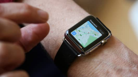 A customer uses the map app on an Apple Watch smartwatch.