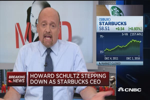 Cramer on Schultz: Sad to see Howard not CEO