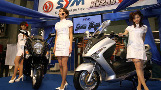 Taiwan's motorcycle maker Sym's 250-cc scooter.