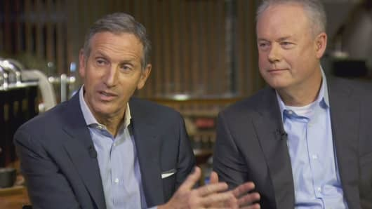Howard Schultz and Kevin Johnson of Starbucks on CNBC's Squawk Box, December 2, 2016.