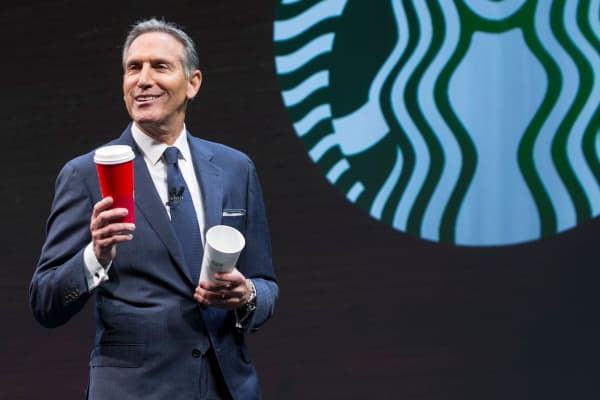 Starbucks CEO Howard Schultz speaks during the Starbucks Annual Shareholders Meeting on March 23, 2016 in Seattle, Washington.
