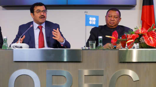 OPEC President Qatar's Energy Minister Mohammed bin Saleh al-Sada and OPEC Secretary General Mohammad Barkindo address a news conference after a meeting of the Organization of the Petroleum Exporting Countries (OPEC) in Vienna, Austria, November 30, 2016.