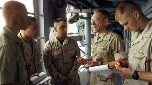 U.S. Marine Maj. Gen. (Select) James Mattis, second right, commanding general of Task Force 58, confers with his staff on a catwalk of the amphibious assault ship USS Peleliu in the northern Arabian Sea on Saturday, Nov. 24, 2001.