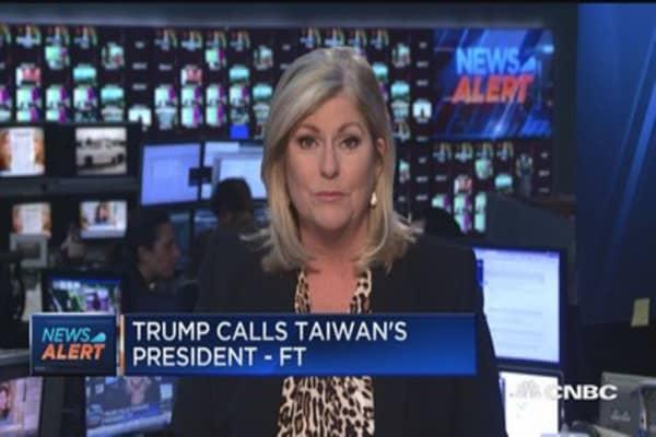 Trump calls Taiwan's president: Financial Times