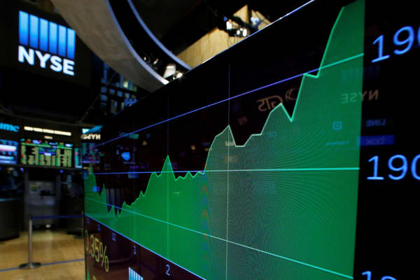 A screen shows the Dow Jones Industrial Average after the close of trading on the floor of the New York Stock Exchange (NYSE) in New York City, U.S., November 22, 2016.