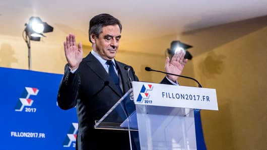 Francois Fillon delivers a speech to the media after his victory against Mayor of Bordeaux Alain Juppe in the second round of votes for the Primary Election of the right wing Les Republicains on November 27, 2016 in Paris, France.