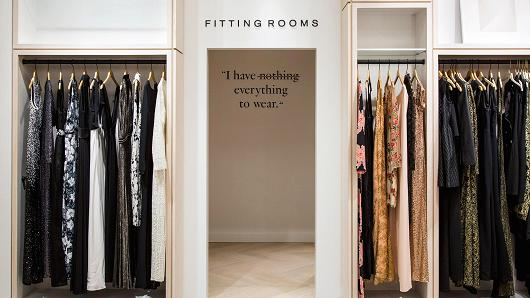 Fitting rooms at Rent the Runway Flagship Store.