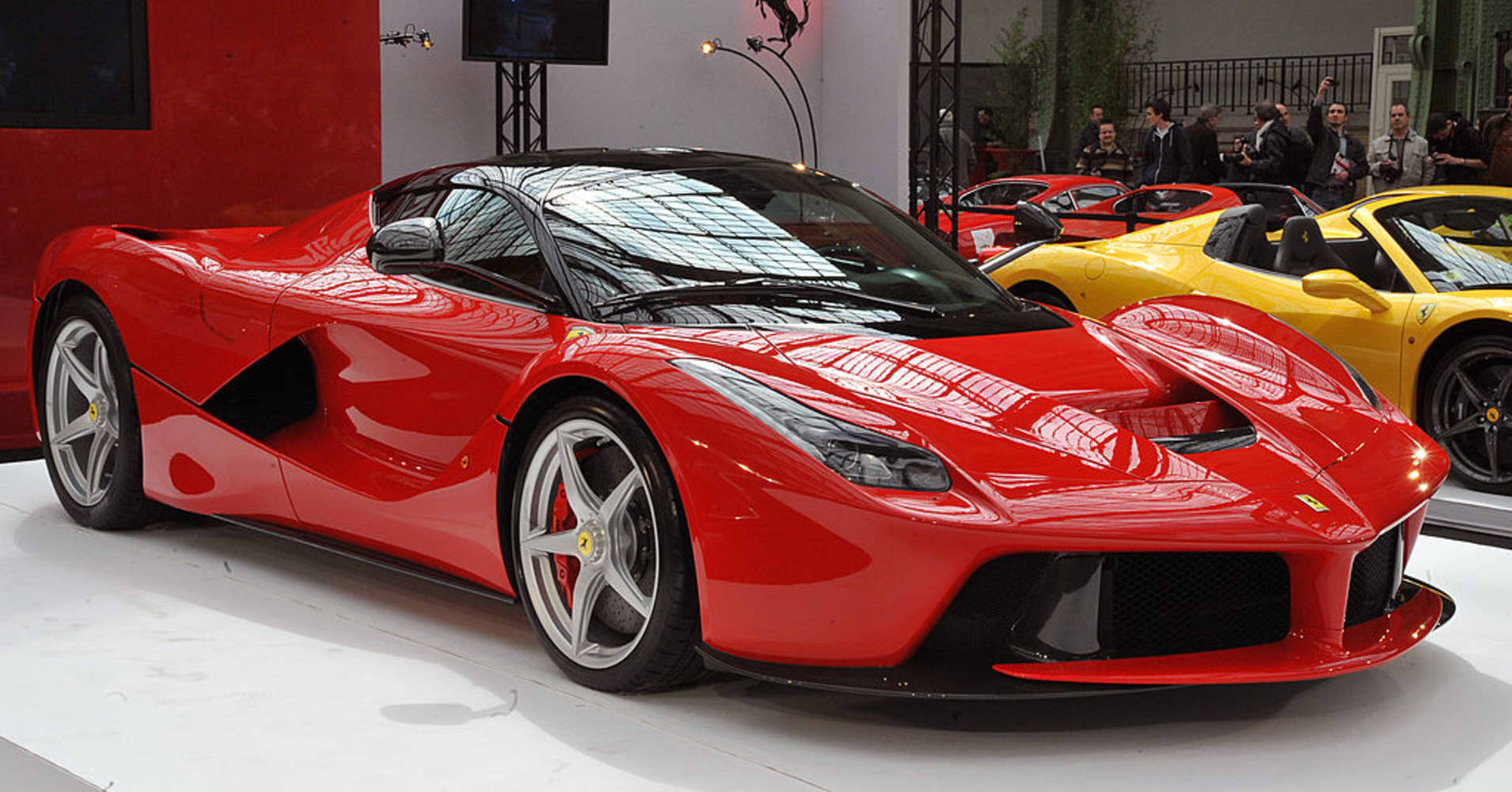 The 'LaFerrari' car build by Italian car maker Ferrari is on display during its presentation on April 22, 2013 in Paris.