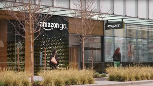 Still image from an Amazon Go promotional video