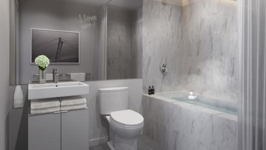 Crescent Heights bathroom with soaking tub rendering.